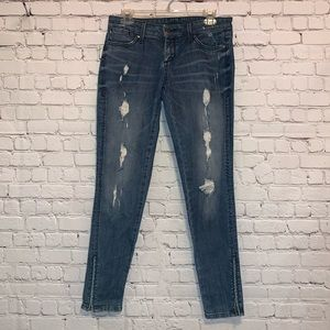 F21 Distressed Denim Jeans with Zippers